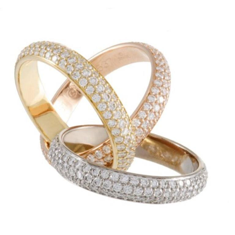 cartier trinity pave diamond tri color 18 karat gold ring size 6 box and papers at 1stdibs. Black Bedroom Furniture Sets. Home Design Ideas