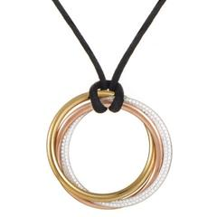Cartier Trinity Large Diamond Tri-Color Gold Pendant Necklace