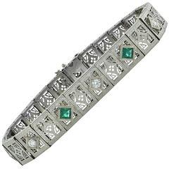 Diamond White Gold Platinum Filigree Bracelet