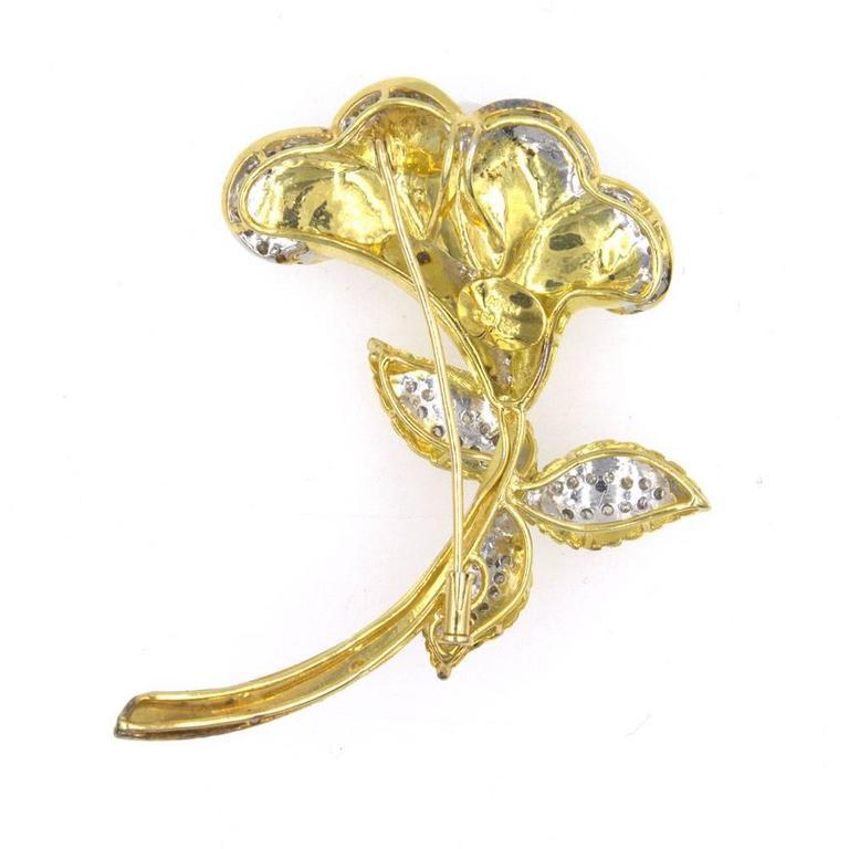 Women's Yellow Gold Diamond South Sea Pearl Pin Pendant For Sale
