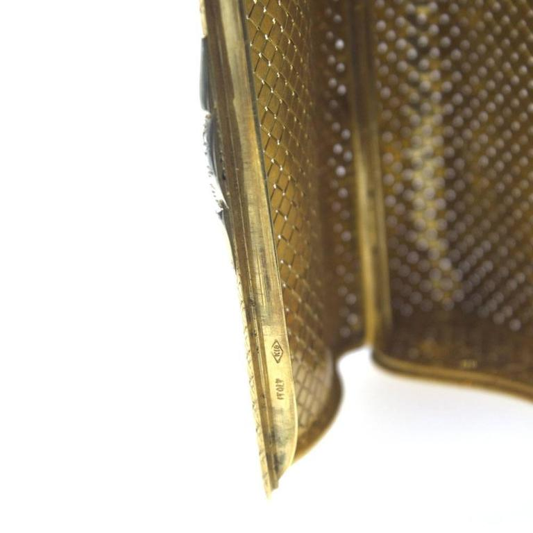 Cigarette Diamond: 1960s Diamond Basketweave Yellow Gold Cigarette Case At