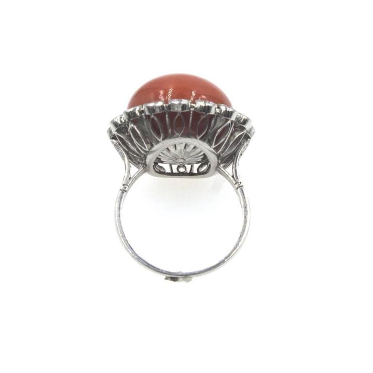 Retro Coral Diamond Platinum Ring For Sale