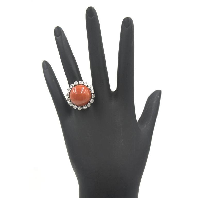 Coral Diamond Platinum Ring In Excellent Condition For Sale In Boca Raton, FL