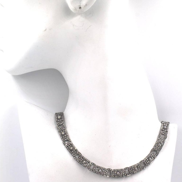 Art Deco Six Carat Diamond 18 Karat White Gold Choker Necklace For Sale