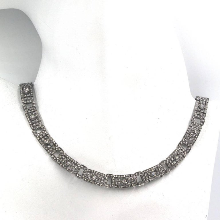 Six Carat Diamond 18 Karat White Gold Choker Necklace In Excellent Condition For Sale In Boca Raton, FL
