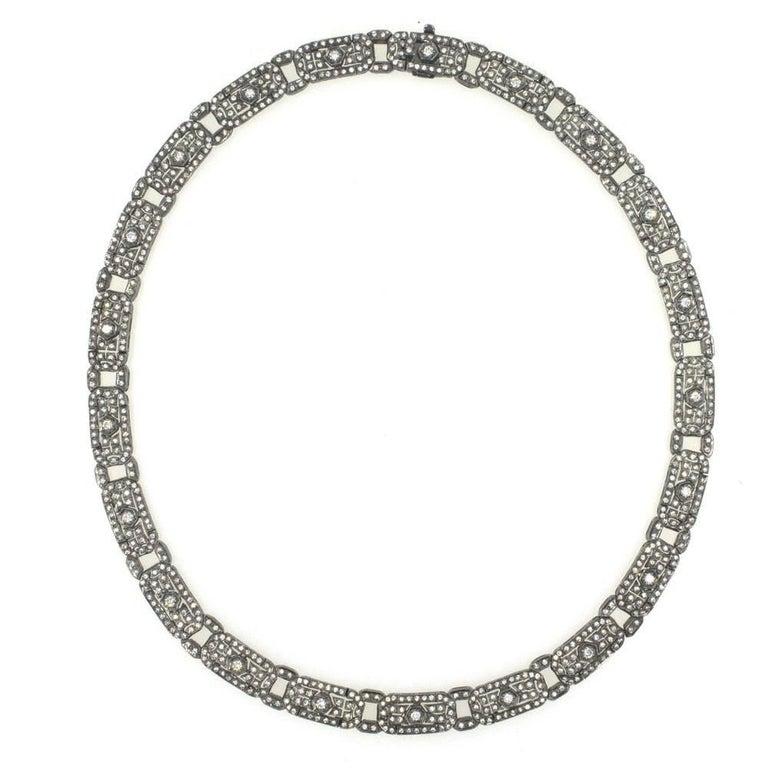 Six Carat Diamond 18 Karat White Gold Choker Necklace For Sale