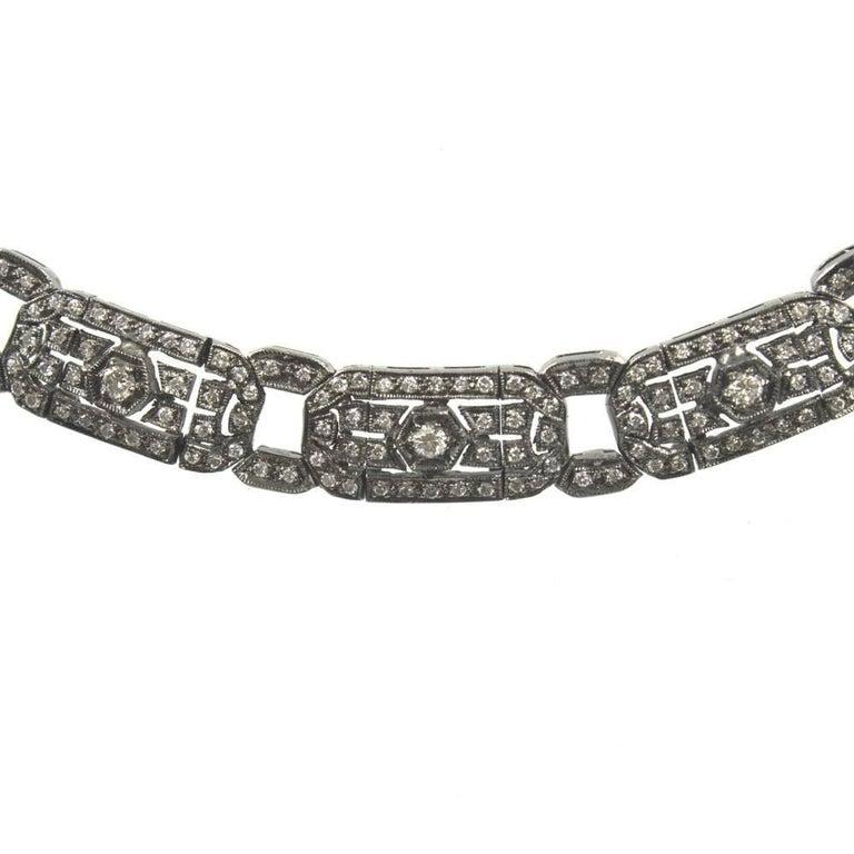 Women's Six Carat Diamond 18 Karat White Gold Choker Necklace For Sale