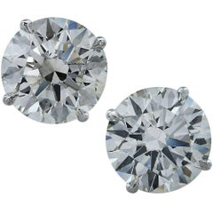 Triple Excellent Diamond Stud Earrings 6.92 Carat Total Weight GIA Certified
