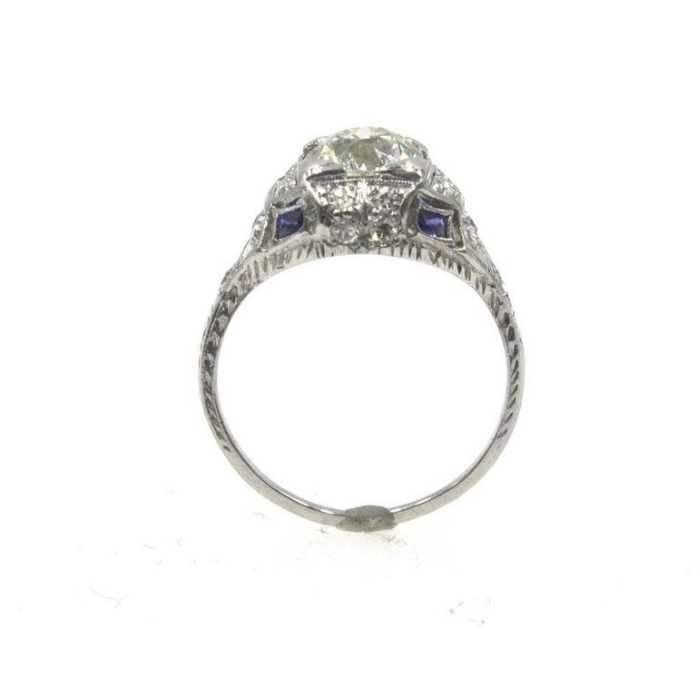Old European Cut Art Deco Diamond Sapphire Platinum Engagement Ring For Sale