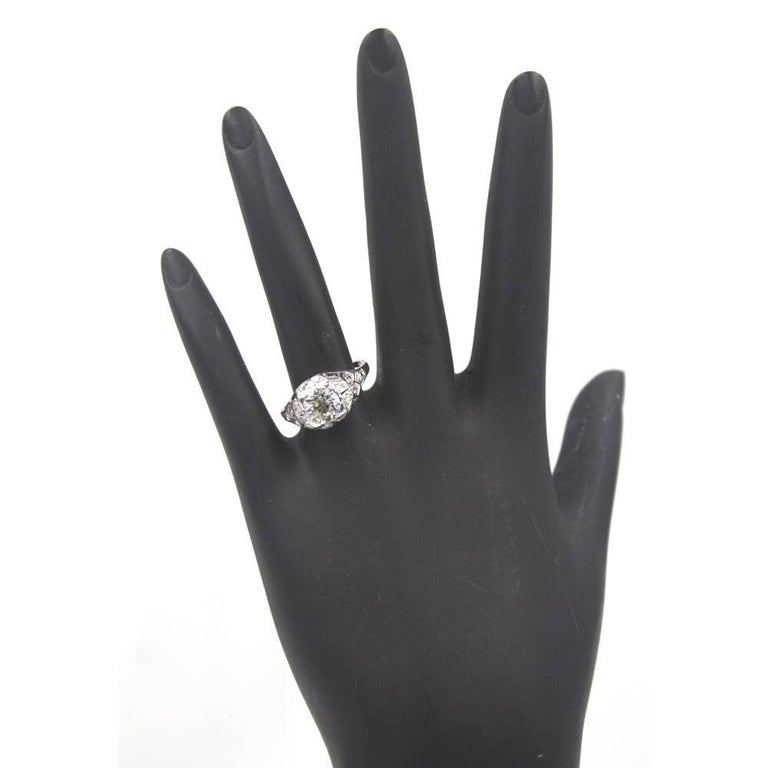 Women's Art Deco Diamond Sapphire Platinum Engagement Ring For Sale