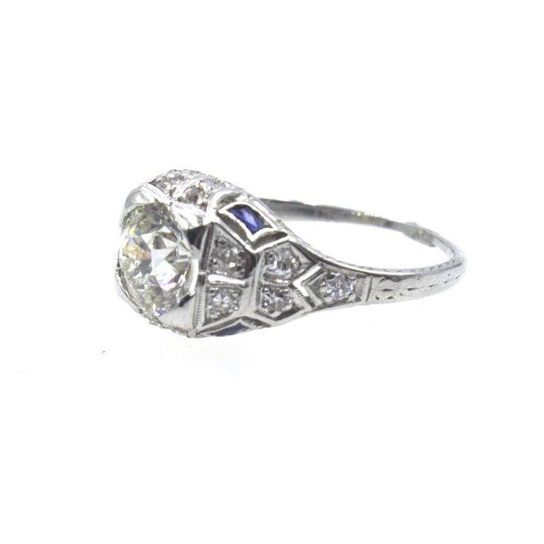 Art Deco Diamond Sapphire Platinum Engagement Ring In Excellent Condition For Sale In Boca Raton, FL