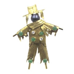 Scarecrow Diamond Emerald Black Pearl Gold Brooch Pin