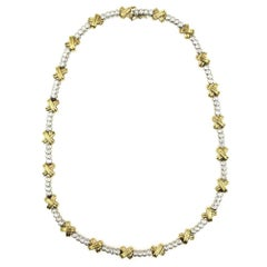 Diamond Two-Tone 14 Karat Gold XO  Necklace