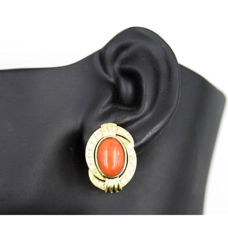 Modern Diamond Coral 18 Karat Yellow Gold Earrings For Sale