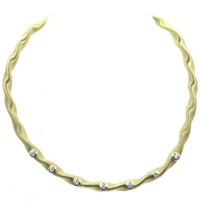 Modern Flexible Diamond Yellow Gold Necklace