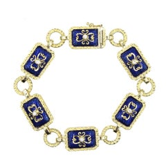 1970s Enamel Diamond 18 Karat Yellow Gold Link Bracelet