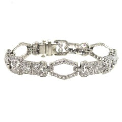 Platinum Diamond Art Deco Style Link Bracelet