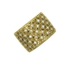 Modern Diamond Lattice 18 Karat Yellow Gold Wide Band Ring