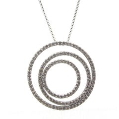 Modern Triple Circle Diamond 18 Karat White Gold Pendant Necklace