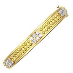 Diamond 18 Karat Yellow Gold Studded Bangle Bracelet