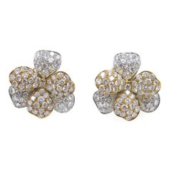 Modern Diamond Floral 18 Karat Two-Tone Earrings