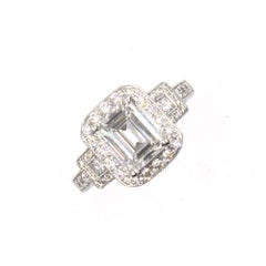 Emerald Cut Diamond Halo Engagement Ring GIA Certified