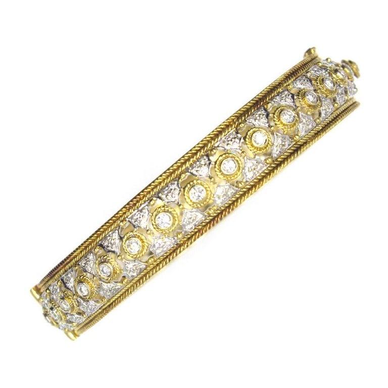 Diamond 18 Karat Two-Tone Gold Bangle Bracelet