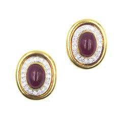 Webb Ruby Diamond 18 Karat Yellow Gold Platinum Ear Clips