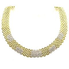 Italian Diamond 18 Karat Yellow Gold Panther Link Collar Necklace