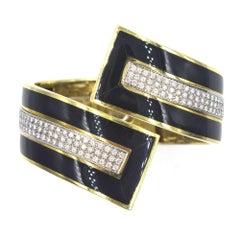 Italian Diamond Onyx Retro Bypass Yellow Gold Bangle Bracelet