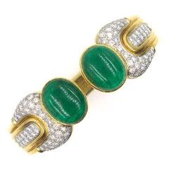 1970s Cabochon Emerald Diamond Cuff Bracelet