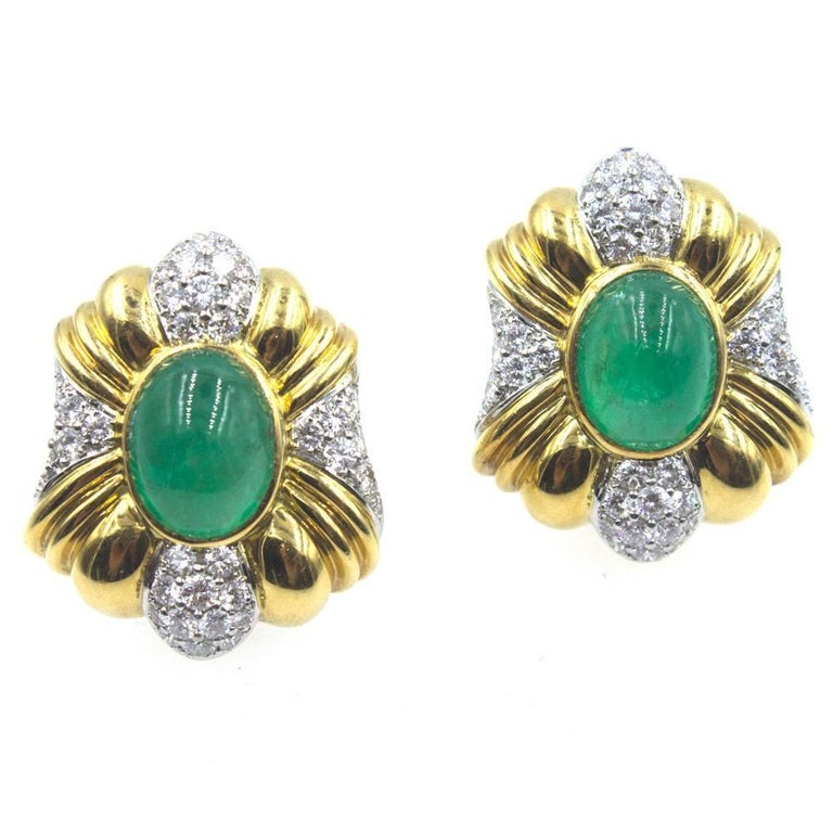 1970s Emerald Diamond Platinum 18 Karat Yellow Gold Clip Earrings