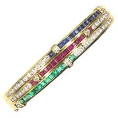 Diamond Ruby Sapphire Emerald Three-Row Bangle Bracelet