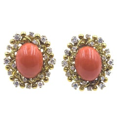 Vintage Honora Coral Diamond 18 Karat Yellow Gold Clip Earrings