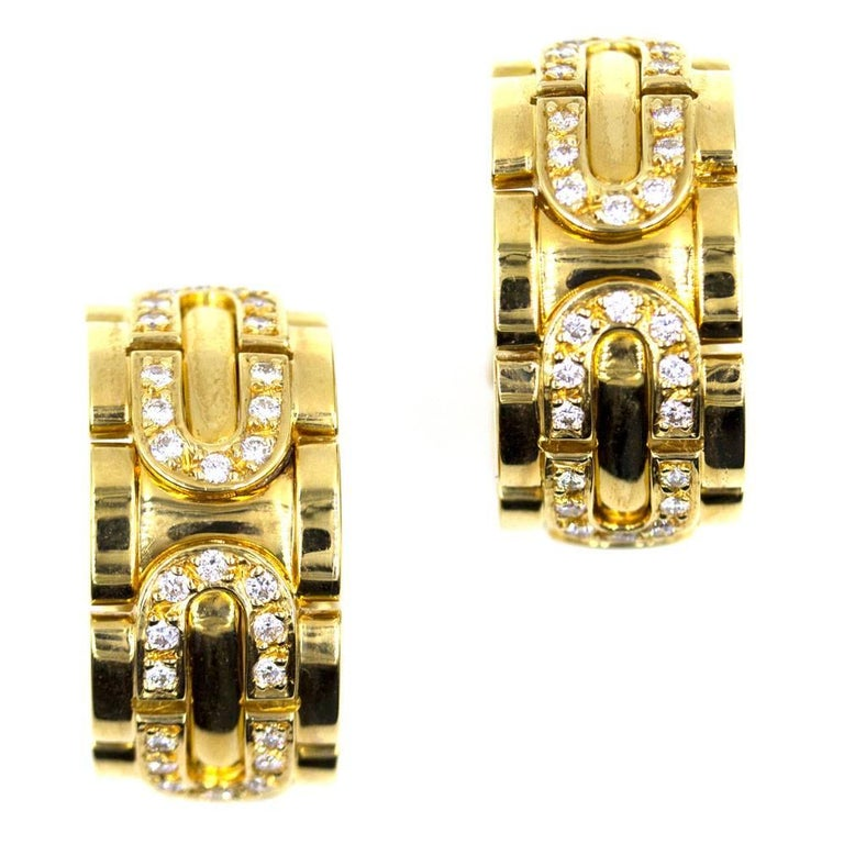 Cartier Diamond 18 Karat Yellow Gold Wide Hoop Clip Earrings