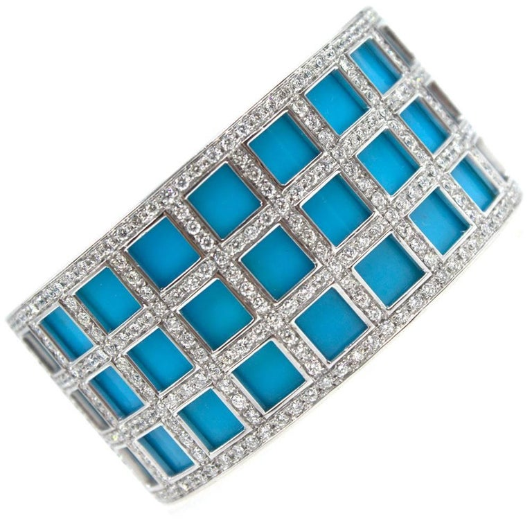Turquoise Diamond 18 Karat White Gold Hinged Cuff Bracelet