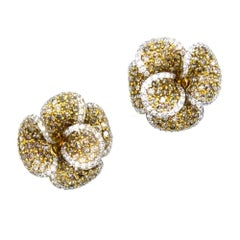 Pave Diamond Floral 18 Karat Two-Tone Earrings