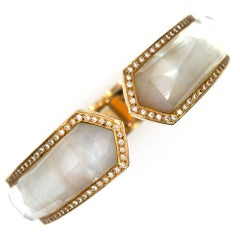 Modern Mother-of-Pearl Diamond Hinged 18 Karat Yellow Gold Cuff Bracelet