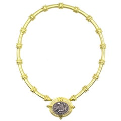 Detachable 18 Karat Yellow Gold Sterling Silver Cameo Diamond Pin Necklace