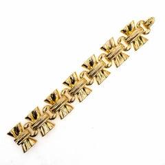 1950s Wide Retro Link 18 Karat Yellow Gold Bracelet