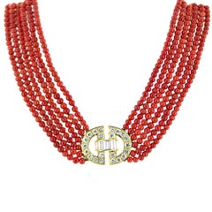 1960s Coral Strand Diamond 18 Karat Yellow Gold Vintage Necklace