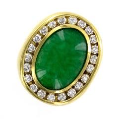 Jadeite Diamond 18 Karat Yellow Gold Ring