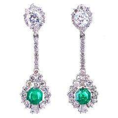 Emerald Diamond Drop 18 Karat White Gold Earrings