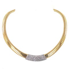 Diamond Tubogas Two-Tone 18 Karat Gold Choker Necklace