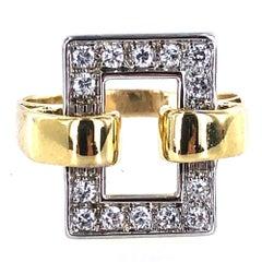 1970s Diamond 18 Karat Two-Tone Gold Buckle Rectangular Ring