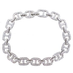 Pave Diamond Anchor Link 18 Karat White Gold Bracelet