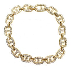 Pave Diamond Anchor Link 18 Karat Yellow Gold Bracelet