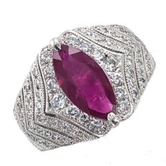 Natural Burma Ruby Diamond Platinum Cocktail Ring