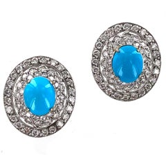Persian Turquoise Diamond Platinum Earrings