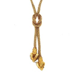 Ilias Lalaounis Ram's Head Lariat Knot Drop Woven 18 Karat Gold Necklace